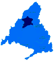 Mapa de la Cuenca Alta del Manzanares donde trabaja el Servicio Tecnico de Calderas Madrid Norte CalderaSAT